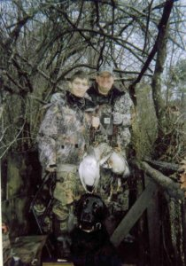 Founder Holton Walker and his father in a 2009 Duck hunt in East Texas. Courtesy of Flying Aces Guide Services.